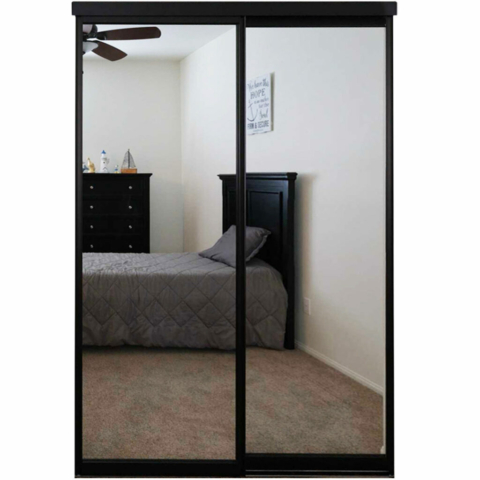 Black Closet Mirror Door